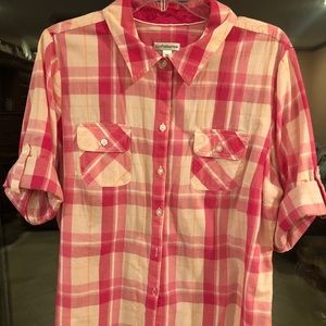 Croft and Barrow pink plaid blouse